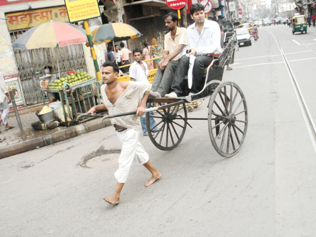 The hand-pulled rickshow in some parts of Kolkata was a thing of novelty...but are now banned.